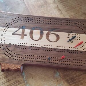 Montana Shaped Cribbage Board in Walnut, Maple, and Sapele