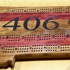 Montana Shaped Cribbage Board in Purpleheart and Walnut