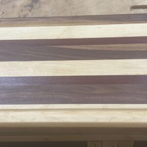 Large Maple, Walnut, and Purple Heart Rectangle Cutting Board