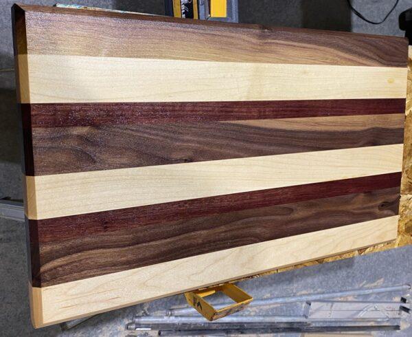 large cutting board maple walnut purple heart
