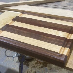 Thick Maple, Walnut, and Purple Heart Rectangle Cutting Board