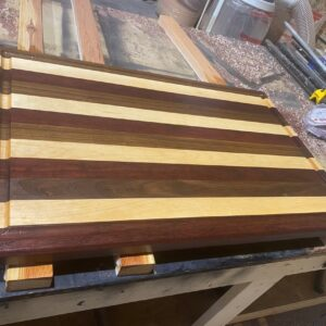 Massive Maple, Walnut, and Purple Heart Rectangle Cutting Board