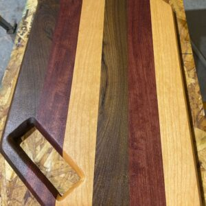 Montana Made Cutting Board with Handle in Walnut, Purpleheart and Cherry