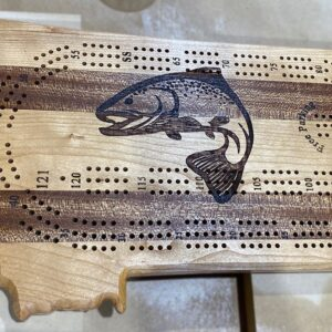 Montana Shaped Cribbage Board with Trout Engraving