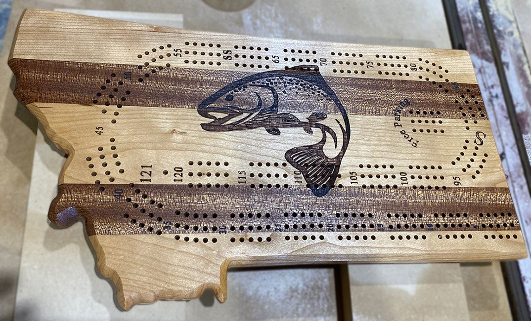 montana shaped cribbage board trout engraving