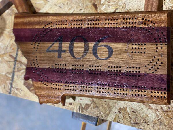 montana shaped cribbage board walnut purpleheart sapele